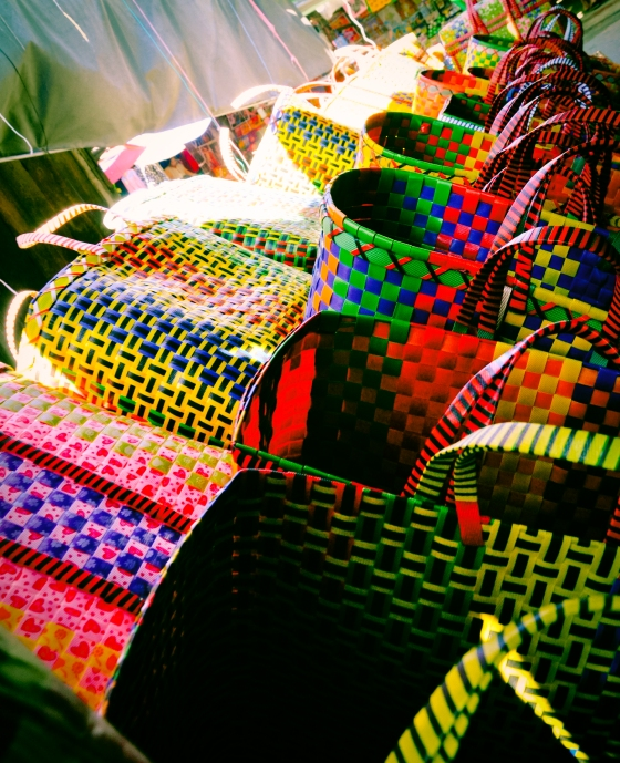 Colourful woven baskets. They were striking when the sun shone on them.
