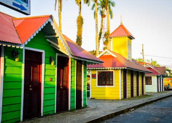 Some of the colorful buildings near the docks.