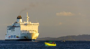 The Ferry from Colombia, docked offshore from Bocas.