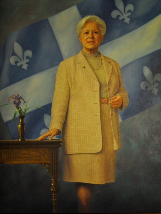 Portrait of Louise Harel, one of the many paintings of past Presidents of the National Assembly that hang along the halls of the building's interior.