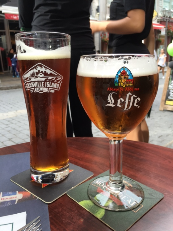 As my friend David pointed out, I went to Quebec and drank BC beer. Such a travesty. At least Stephen had Belgian brew.